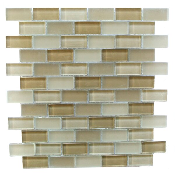 Free Flow 1 x 2 Glass Mosaic Tile in Beige by Abolos