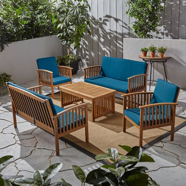 Emerson Outdoor 5 Piece Sofa Seating Group with Cushion by Breakwater Bay