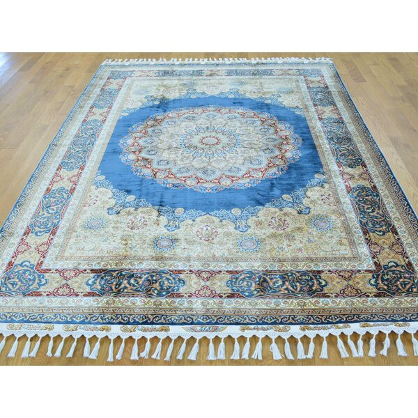One-of-a-Kind Benally Medallion Design Hand-Knotted Blue Silk Area Rug by Isabelline