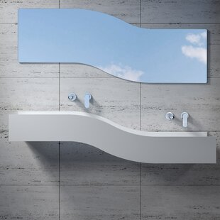 Affordable Right Wave Stone 55 Wall Mount Bathroom Sink By InFurniture