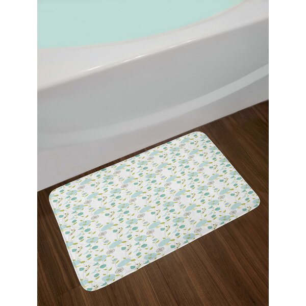 Butterfly Silhouettes and Circles Background with Roses and Leaves Bath Rug by East Urban Home