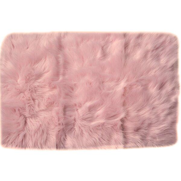 Charlotte Hand-Woven Faux Sheepskin Light Pink Area Rug by House of Hampton