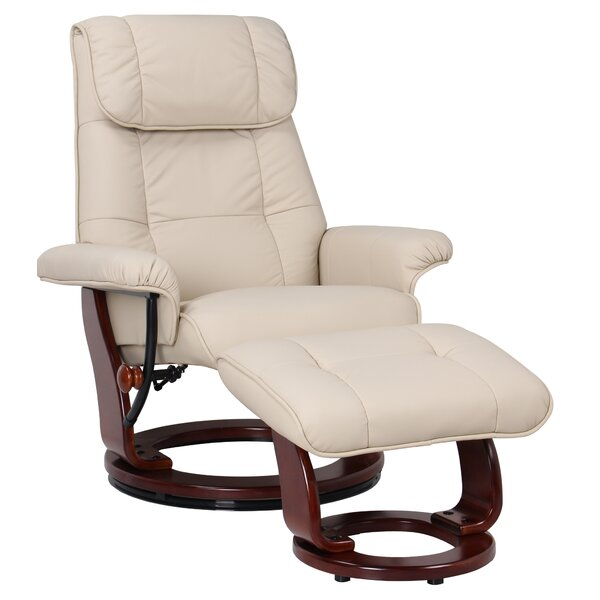 C lia Leather Manual Swivel Recliner with Ottoman [Red Barrel Studio]