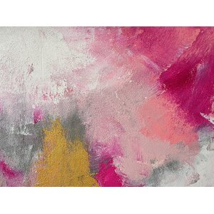 'True Love Pink Hue Abstract' by Glam Gold Painting Print on Wrapped Canvas by Buy Art For Less