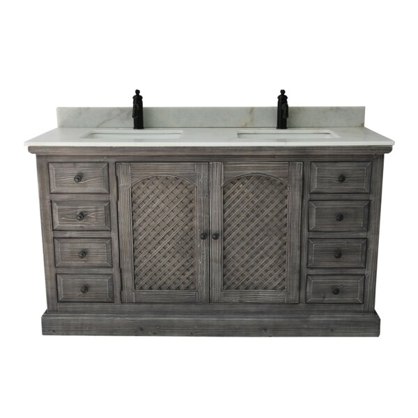 Lovejoy 60 Rustic 2 Sink Bathroom Vanity Set by Ophelia & Co.