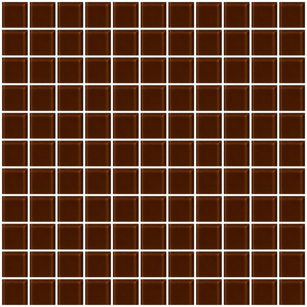 1 x 1 Glass Mosaic Tile in Glossy Brown by Susan Jablon
