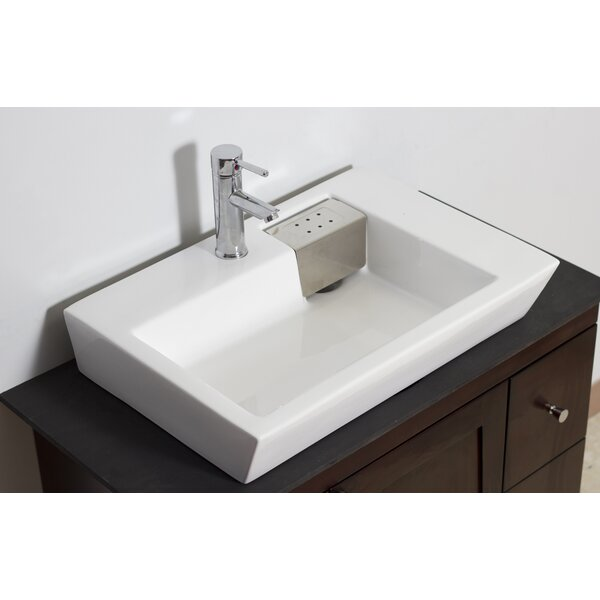 Ceramic Rectangular Vessel Bathroom Sink with Overflow by American Imaginations
