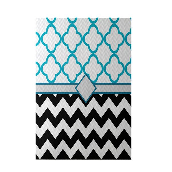 Express Line Geometric Print Black Indoor/Outdoor Area Rug by e by design