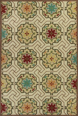 Wentworth Ivory Mosaic Outdoor Rug by World Menagerie