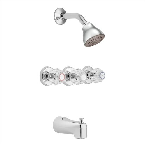Chateau Thermostatic Shower and Tub Faucet Trim with Knob Handle by Moen