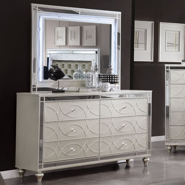 Theron 6 Drawer Double Dresser with Mirror by Rosdorf Park