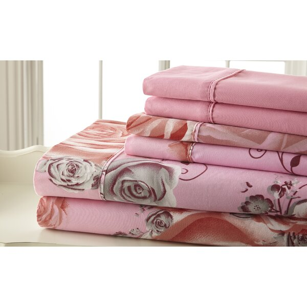 Hyacinthe Sheet Set in Pink & Gray by August Grove