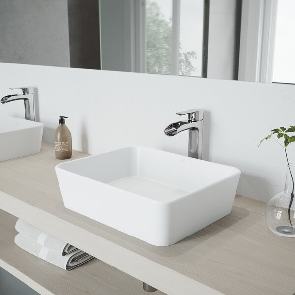 VIGO Matte Stone Rectangular Vessel Bathroom Sink with Faucet by VIGO
