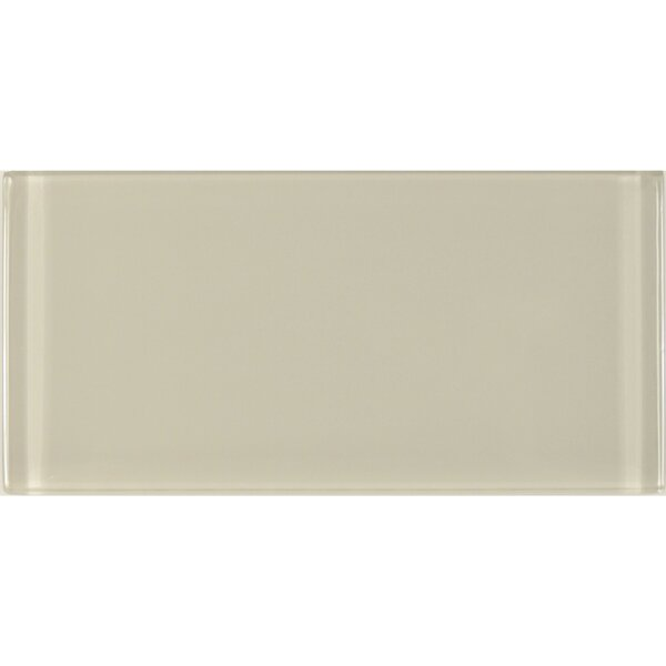 Metro 3 x 6 Glass Subway Tile in Cream by Abolos