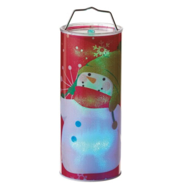 Battery Operated Transparent Waving Snowman LED Color Changing Lighted Hanging Christmas Metal/Plastic Lantern by The Holiday Aisle