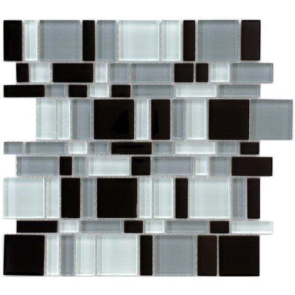 Sierra Random Sized Glass Mosaic Tile in Black/White by EliteTile