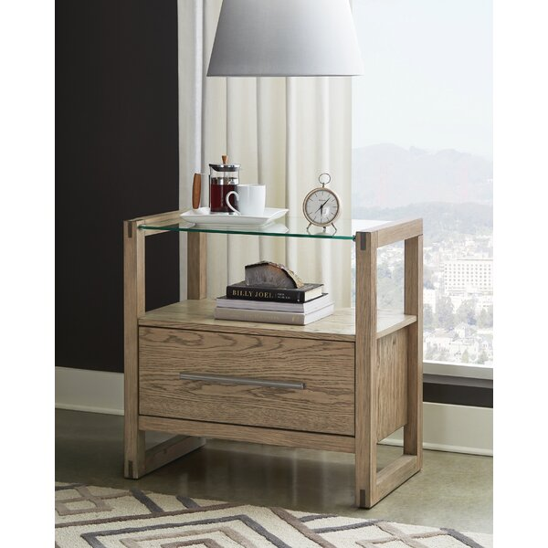 cornelio 1-Drawer Nightstand With Glass Top Grey Oak by Orren Ellis