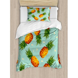 Retro Poly Style Pineapples Motif Vintage Beach Summer Modern Illustration Duvet Set