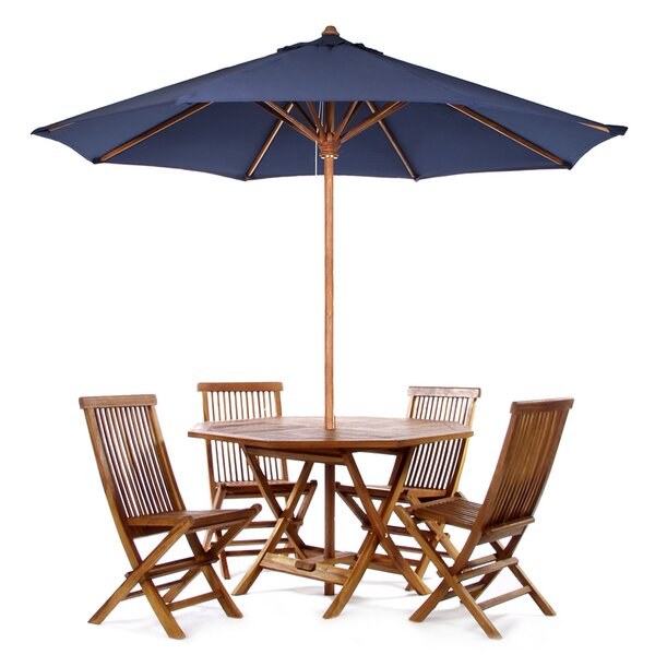 Humphrey 6 Piece Teak Dining Set With Umbrella by Longshore Tides