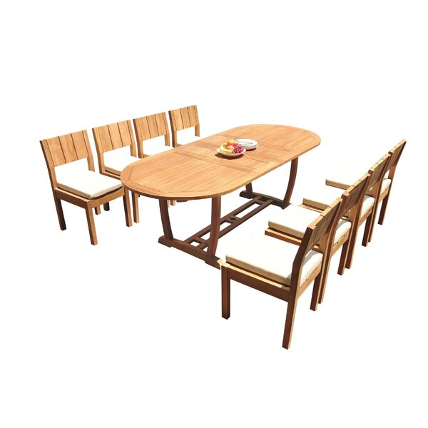 Lansdale 9 Piece Teak Dining Set by Rosecliff Heights