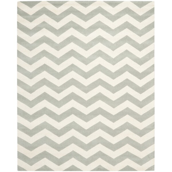 Wilkin Chevron Hand-Tufted Wool Gray/Ivory Area Rug by Wrought Studio