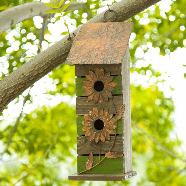 Wooden Flower 14.5 in x 5 in x 5 in Birdhouse by Glitzhome