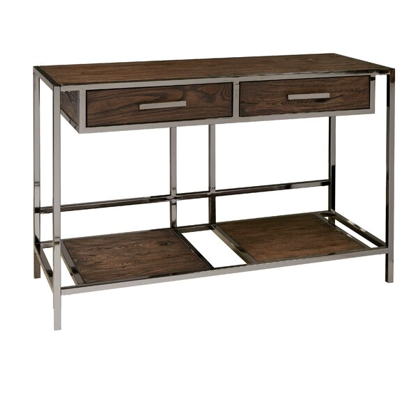 Falkner Modern Industrial Style Wood And Smoked Sofa Console Table By Brayden Studio