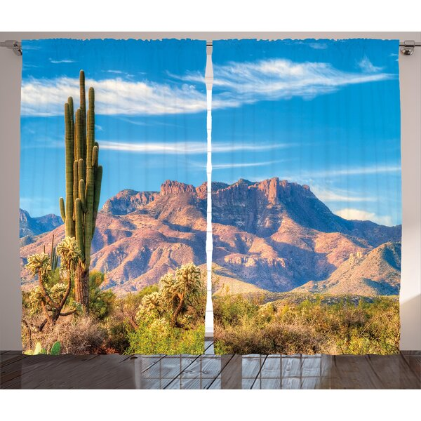 Windsor Cactus Graphic Print and Text Semi-Sheer Rod Pocket Curtain Panels (Set of 2) by World Menagerie