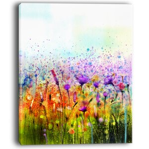 Abstract Cosmos of Colorful Flowers Large Flower Painting Print on Wrapped Canvas by Design Art