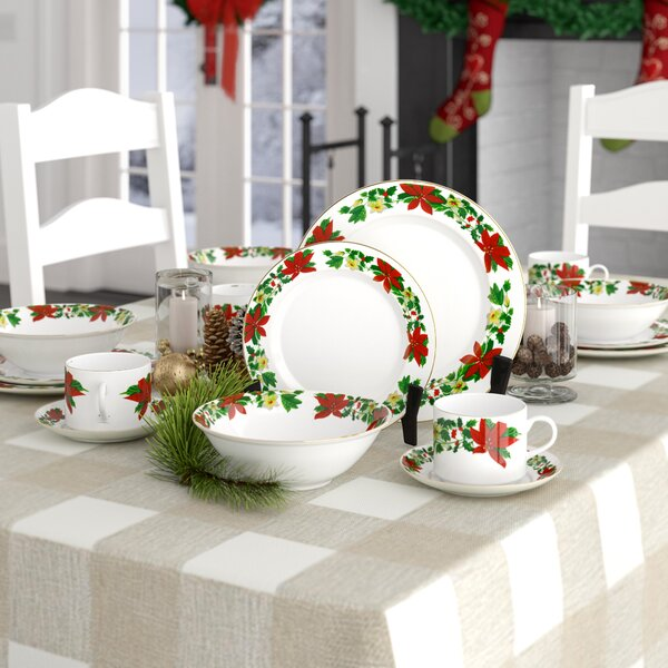 Tarnowski Poinsettia Holiday 20 Piece Dinnerware Set, Service for 4 by August Grove