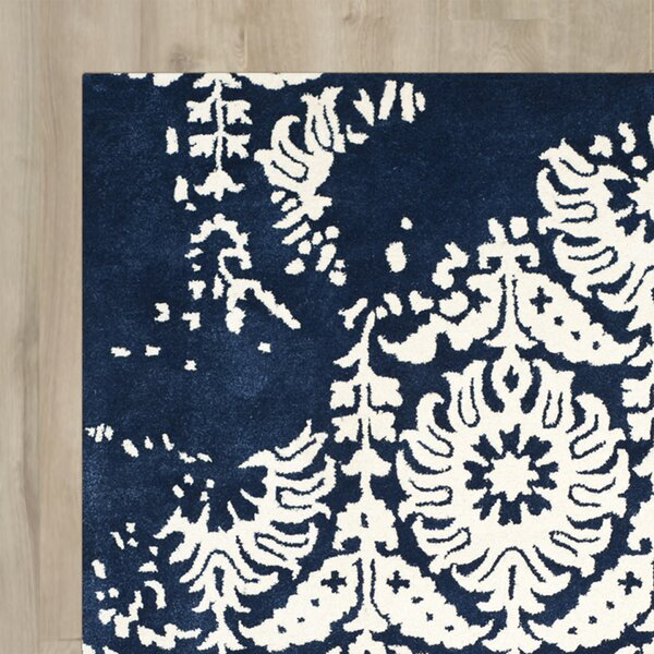 Fernville Hand-Tufted Navy / Ivory Area Rug by Charlton Home