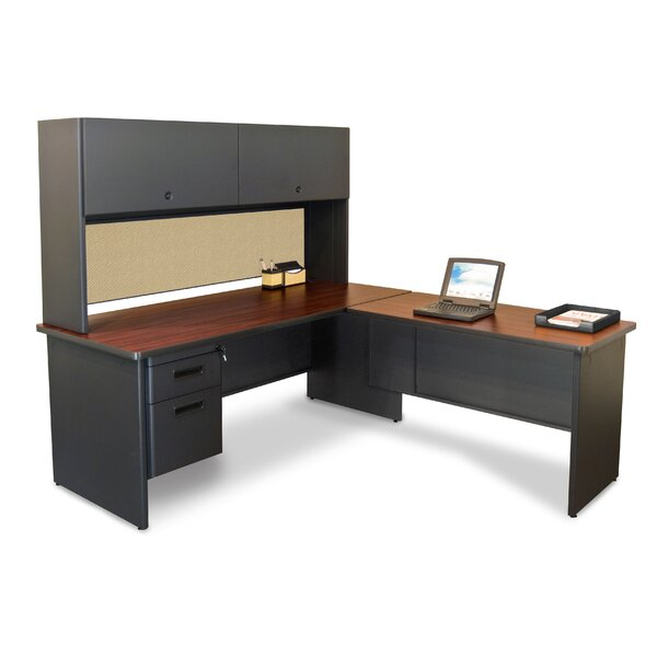 Crivello Return and Drawers Reversible L-Shape Executive Desk with Hutch