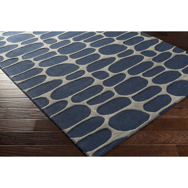 Nida Hand-Tufted Blue/Gray Area Rug by Wrought Studio