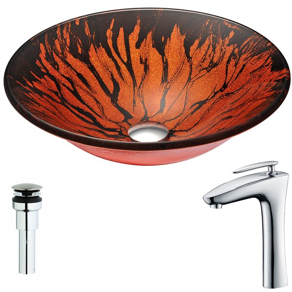 Forte Glass Circular Vessel Bathroom Sink with Faucet by ANZZI