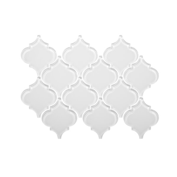 Water Jet Series 3.5 x 4.25 Glass Mosaic Tile in White by WS Tiles