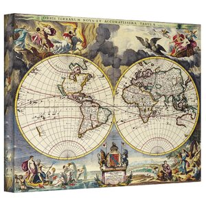 Antique Maps 'Map of the World' by Loanne a Loon Graphic Art on Wrapped Canvas by ArtWall