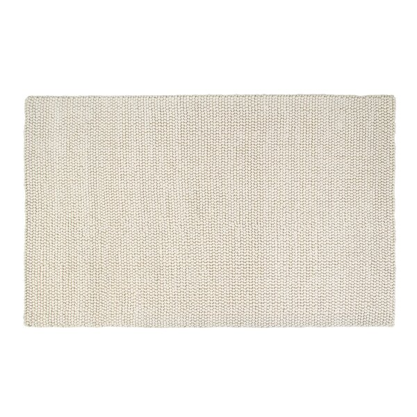 Hand-Woven Rectangle White Area Rug by Foundry Select