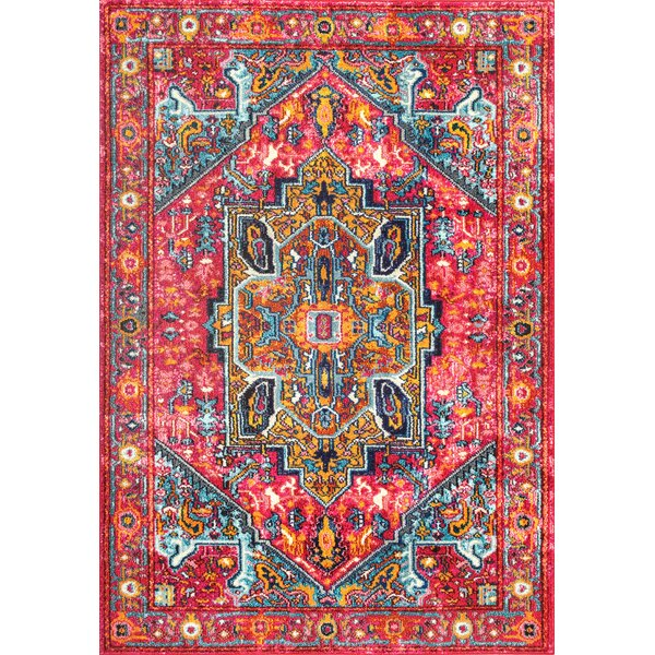 Daria Pink/Red Area Rug by Bungalow Rose