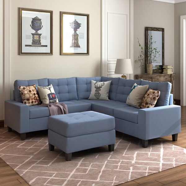 Nealy Symmetrical Sectional With Ottoman By Latitude Run