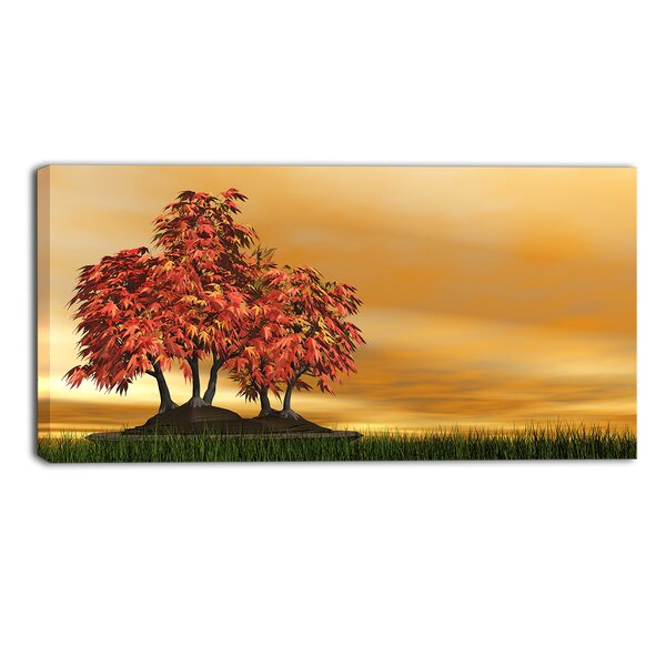 Bonsai Landscape Painting Print on Wrapped Canvas by Design Art