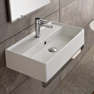Read Reviews Teorema Ceramic 17 Wall Mount Bathroom Sink with Overflow By Scarabeo by Nameeks