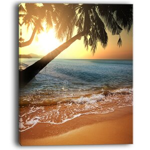 Beautiful Sunset on Tropical Beach Large Seashore Photographic Print on Wrapped Canvas by Design Art