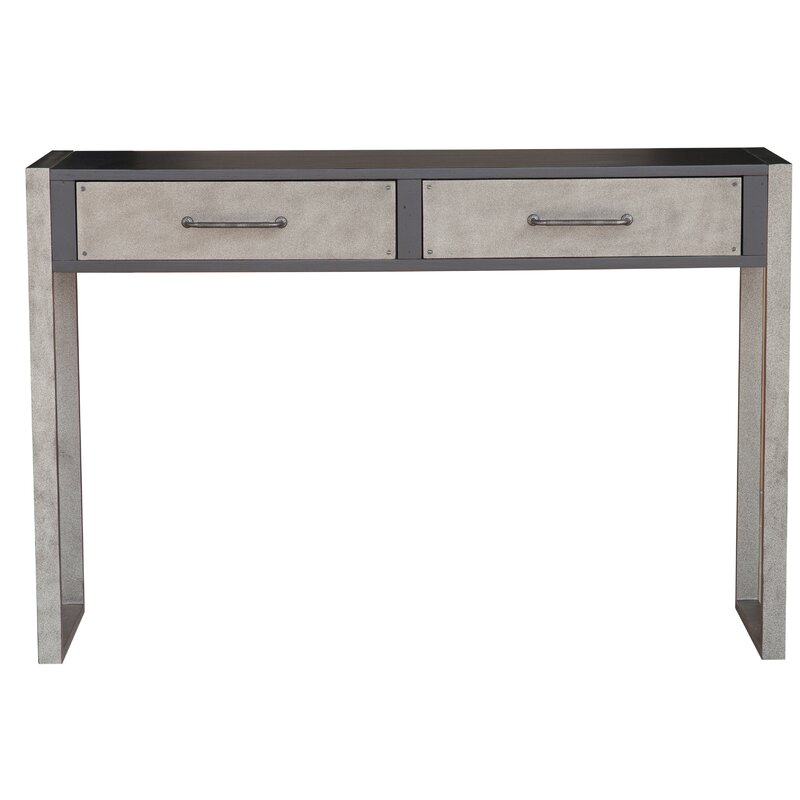 Genial Bledsoe Industrial Distressed 2 Drawers Storage Console Table