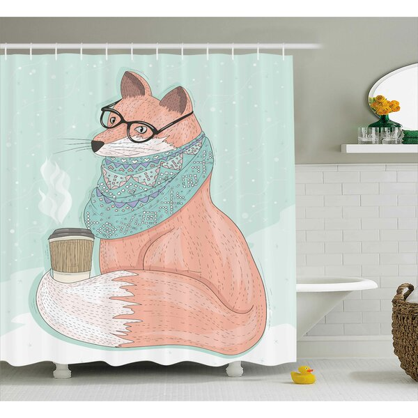 Danielle Animal Cute Hipster Fox With Glasses and Scarf Drinking Coffee Hippie Illustration Shower Curtain by Harriet Bee