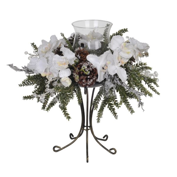 Artificial Iced Phalaenopsis Orchid / Pine Single Candle Holder by House of Silk Flowers Inc.