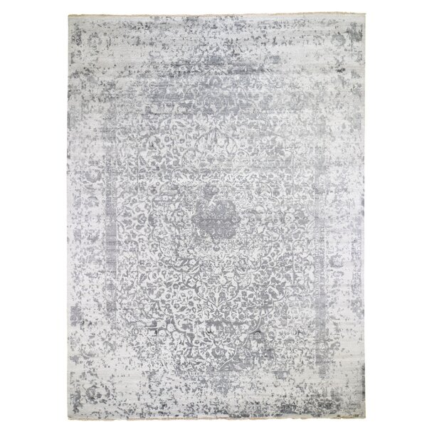 One-of-a-Kind Tristian Hand-Knotted Gray 9' x 12' Area Rug