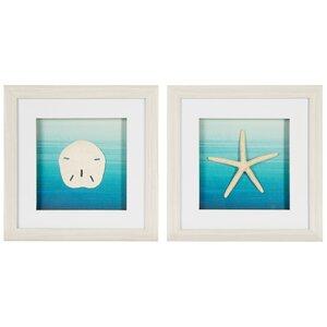 'Star Fish and Sand Dollar' 2 Piece Framed Graphic Art Print Set on Canvas by Nielsen Bainbridge