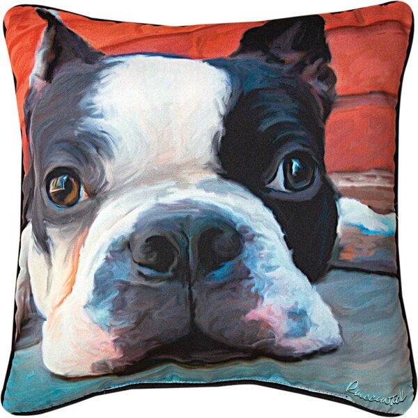 Moxley Boston Terrier Throw Pillow by Manual Woodworkers & Weavers