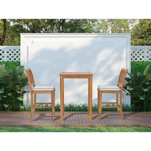 Dayne 3 Piece Teak Bar Height Dining Set with Cushions by Bay Isle Home