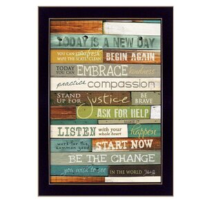 'Today is a New Day' Framed Textual Art by Trendy Decor 4U